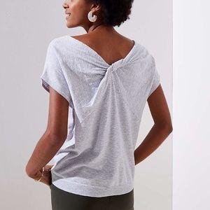 LOFT Twist Back Grey Striped Sweater SP